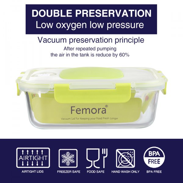 Borosilicate Glass Rectangle Container with Vacuum Pump Lid- 1050 ML