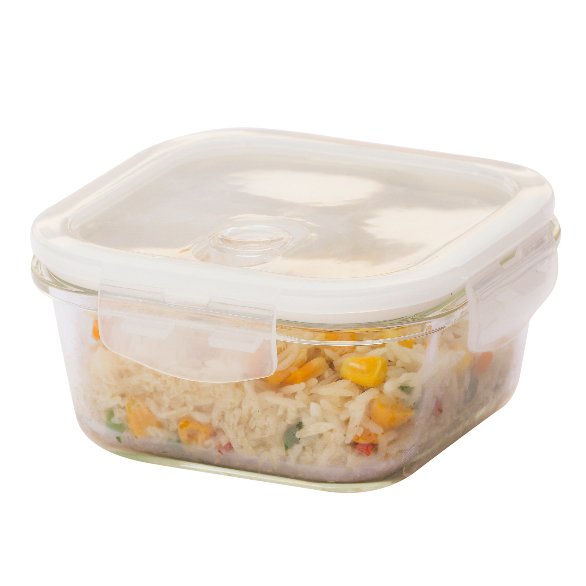 Borosilicate Glass Square Container with Air Vent Lid, 800 ML