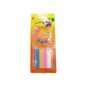 24 Pcs Classic Striped Pink Blue Yellow Party Birthday Cake Candles