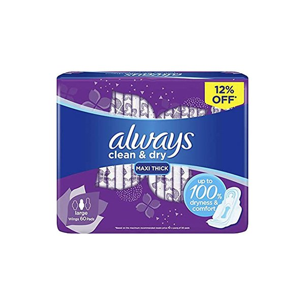 Always Clean & Dry Maxi Thick, Large Sanitary Pads, 30 Pads