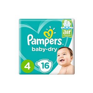 Pampers Active Baby Dry Diapers, Carry Pack, Maxi, Size 4, 8-14 Kg, 16 Diapers