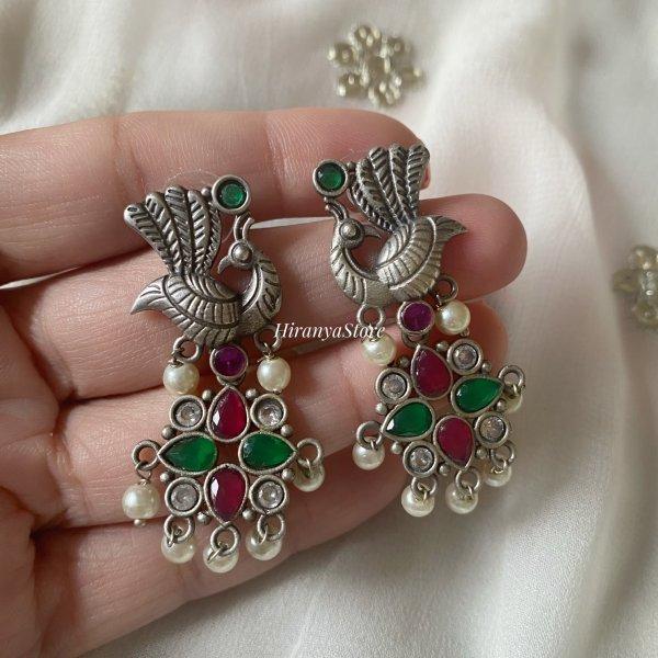 Mayura  Lightweight Earrings  | Red Green