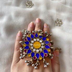 Aakarsha Oversized Ring | Yellow Blue