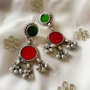 Anina Glass Danglers| Red and Green
