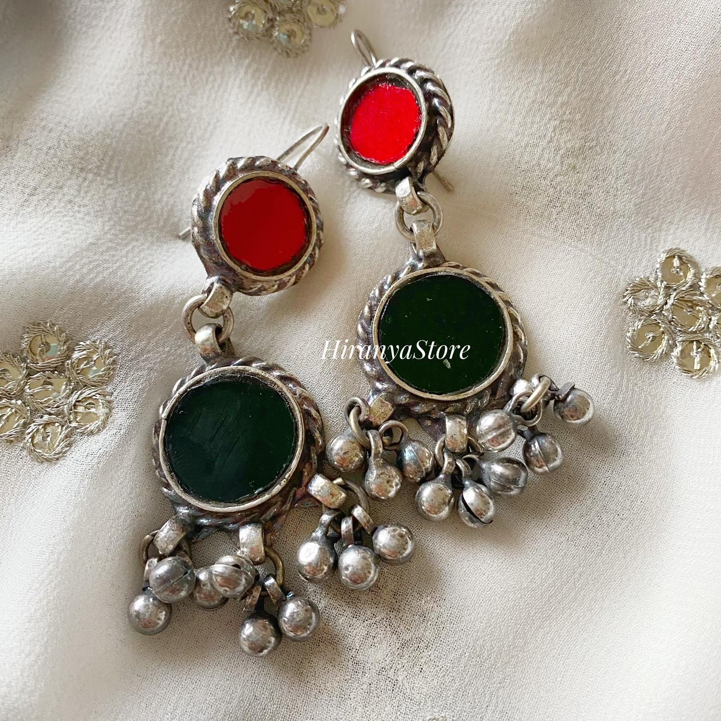 Anina Glass Danglers| Red & Bottle Green