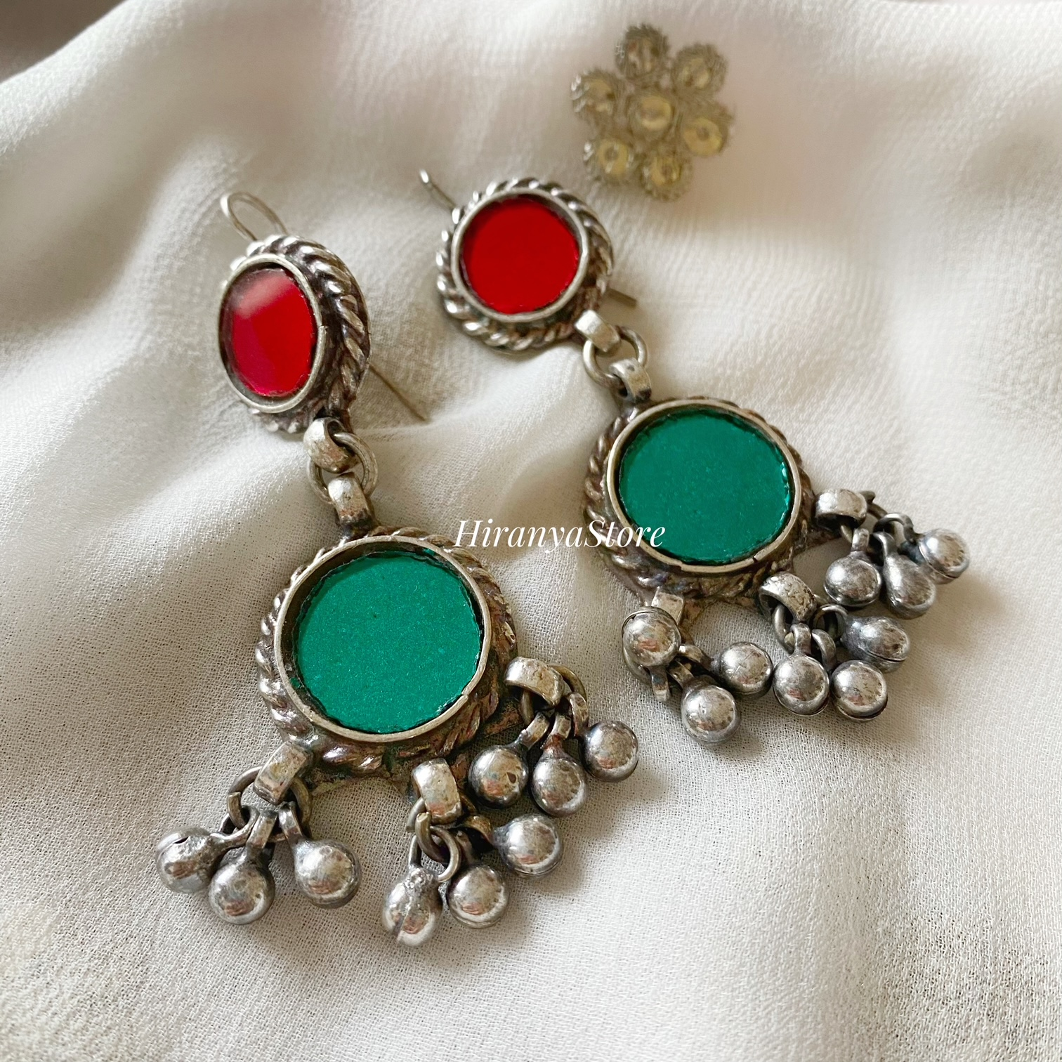 Anina Glass Danglers| Red and Turquoise