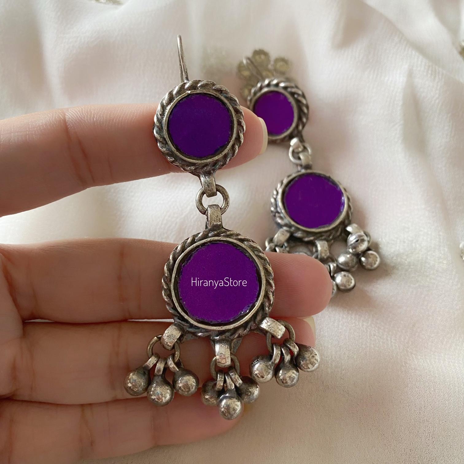 Anina Glass Danglers| Purple