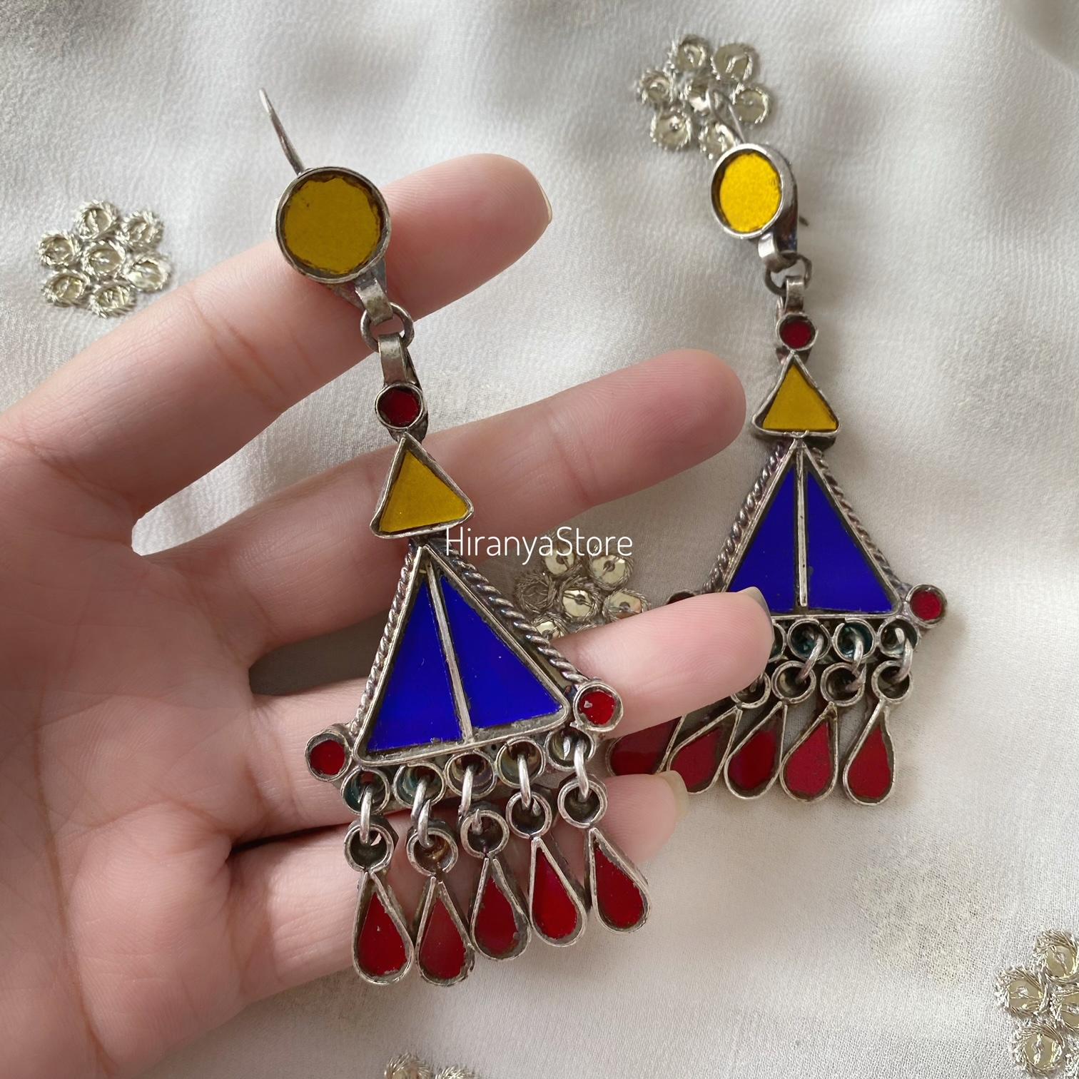 Mekhala Glass Danglers | Yellow Blue Red