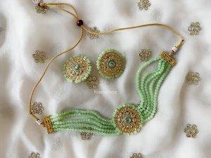 Pastel Green Beads Choker SET