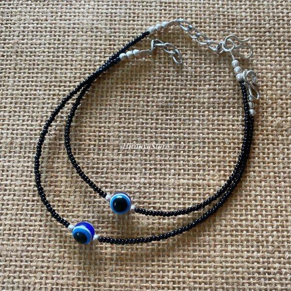 Evil Eye Black Beads Anklet Pair