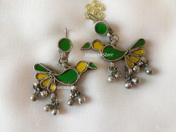 Chidiya Glass Earrings | Yellow - Green Combination