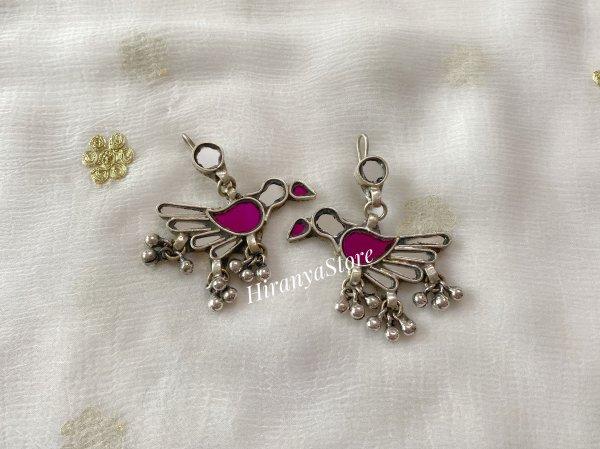 Chidiya Glass Earrings (Pink and Mirror)