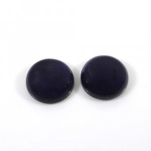 1 Pair African Amethyst 14mm Round Cabochon 17.05 Cts