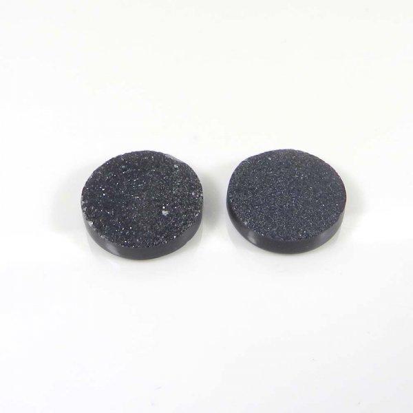 1 Pair Black Druzy 14mm Round 14.05 Cts