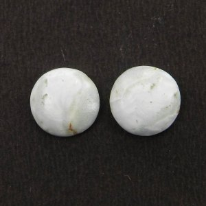 1 Pair Blue Aragonite 11mm Round Cabochon 6.85 Cts