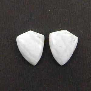 1 Pair Blue Aragonite 15x12mm Shield Shape 11.0 Cts