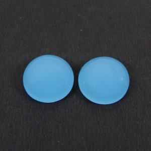 1 Pair Blue Chalcedony 14mm Round Cabochon 18.50 Cts