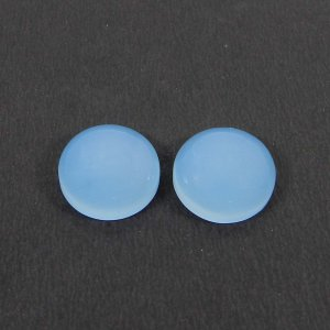 1 Pair Blue Chalcedony 14mm Round Cabochon 18.95 Cts