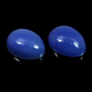 1 Pair Blue Chalcedony 20x15mm Pear Cabochon 38.65 Cts