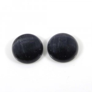1 Pair Blue Tiger Eye 14mm Round Cabochon 18.55 Cts