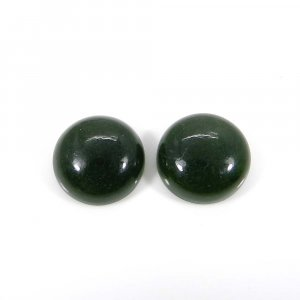 1 Pair Chinese Green Jade 14mm Round Cabochon 18.80 Cts