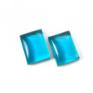1 Pair Crystal And Apatite Hydro Foil Doublet 16x12mm Rectangle Cabochon 21 Cts