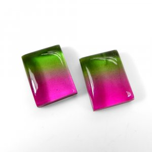 1 Pair Crystal And Bio Color Foil Doublet 16x12mm Rectangle Cabochon 21 Cts
