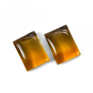 1 Pair Crystal And Bio Color Foil Doublet 16x12mm Rectangle Cabochon 22 Cts