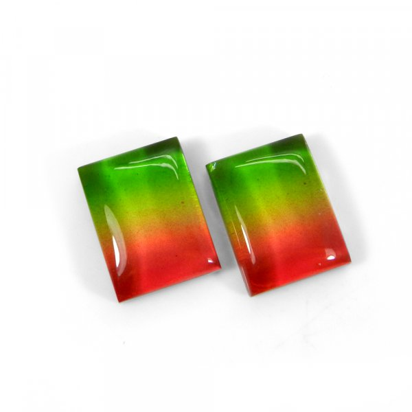 1 Pair Crystal And Bio Color Foil Doublet 16x12mm Rectangle Cabochon 23 Cts