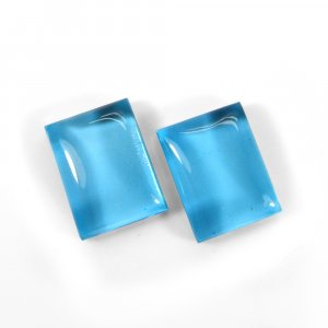 1 Pair Crystal And Blue Color Foil Doublet 16x12mm Rectangle Cabochon 22 Cts