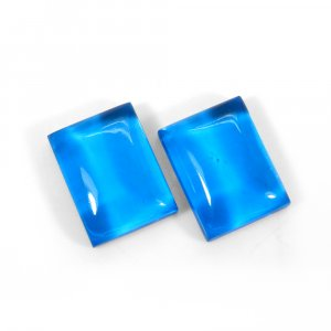 1 Pair Crystal And Blue Color Foil Doublet 16x12mm Rectangle Cabochon 23 Cts