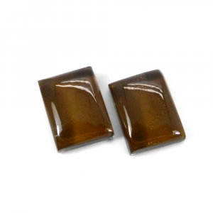 1 Pair Crystal And Brown Color Foil Doublet 16x12mm Rectangle Cabochon 23 Cts