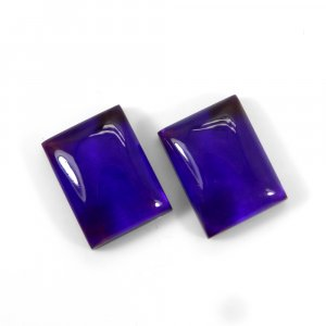 1 Pair Crystal And Dark Blue Color Foil Doublet 16x12mm Rectangle Cabochon 21 Cts