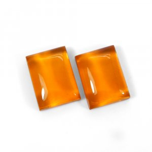 1 Pair Crystal And Golden Color Foil Doublet 16x12mm Rectangle Cabochon 21 Cts
