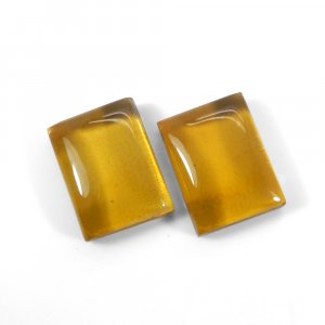 1 Pair Crystal And Golden Color Foil Doublet 16x12mm Rectangle Cabochon 22 Cts
