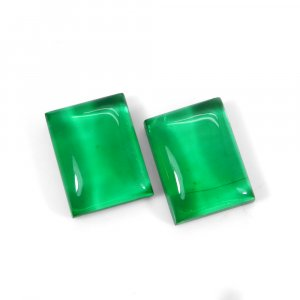 1 Pair Crystal And Green Color Foil Doublet 16x12mm Rectangle 23 Cts