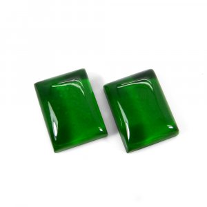 1 Pair Crystal And Green Color Foil Doublet 16x12mm Rectangle Cabochon 21 Cts