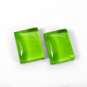 1 Pair Crystal And Green Color Foil Doublet 16x12mm Rectangle Cabochon 23 Cts