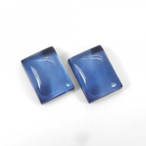 1 Pair Crystal And Light Blue Color Foil Doublet 16x12mm Rectangle Cabochon 21 Cts