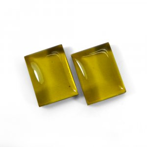 1 Pair Crystal And Light Golden Color Foil Doublet 16x12mm Rectangle Cabochon 23 Cts