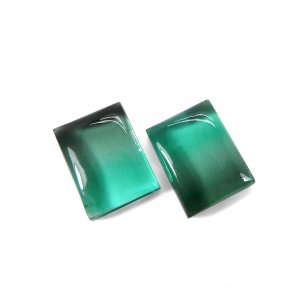 1 Pair Crystal And Light Green Color Foil Doublet 16x12mm Rectangle Cabochon 23 Cts