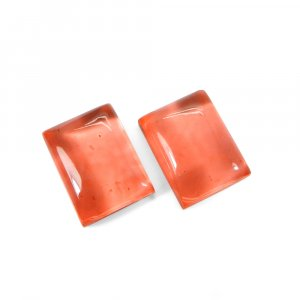1 Pair Crystal And Light Orange Color Foil Doublet 16x12mm Rectangle Cabochon 22 Cts