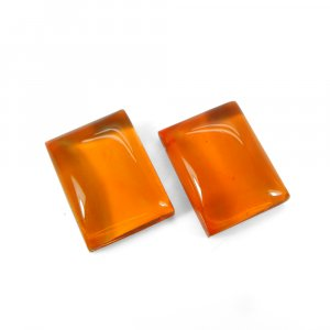 1 Pair Crystal And Orange Color Foil Doublet 16x12mm Rectangle Cabochon 23 Cts