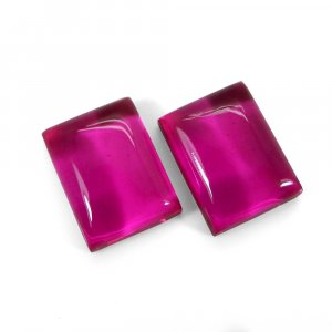 1 Pair Crystal And Pink Color Foil Doublet 16x12mm Rectangle Cabochon 22 Cts