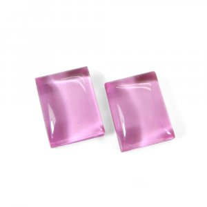1 Pair Crystal And Pink Color Foil Doublet 16x12mm Rectangle Cabochon 24 Cts