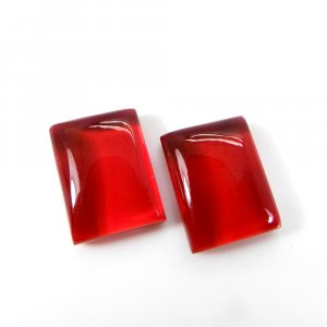 1 Pair Crystal And Red Color Foil Doublet 16x12mm Rectangle Cabochon 24 Cts