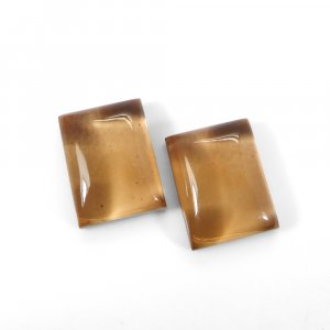 1 Pair Crystal And Smoky Hydro Foil Doublet 16x12mm Rectangle Cabochon 21 Cts