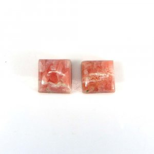 1 Pair Elegant Gemstone Rhodochrosite 10x10mm Square Cabochon 7.65 Cts