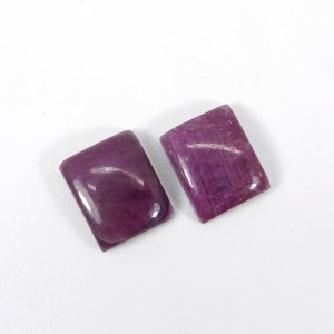 1 Pair Factory Wholesale Natural Ruby 12x10mm Rectangle Cabochon 6.70 Cts