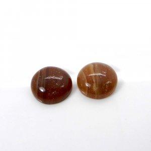 1 Pair Honey Aragonite 14mm Round Cabochon 17.60 Cts